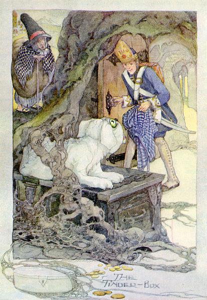 Illustration von Anne Anderson zu dem Märchen Das Feuerzeug