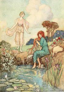 Illustration Warwick Goble. Prinzessin Rose wird von einer Fee beschenkt