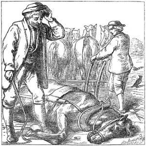 Illustration von Alfred Walter Bayes zu dem Märchen Der kleine Klaus und der große Klaus