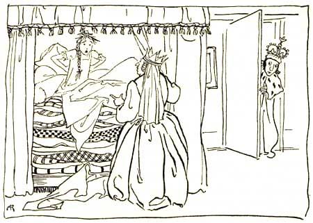 Illustration von Arthur Rackham zu dem Märchen Die Prinzessin auf der Erbse