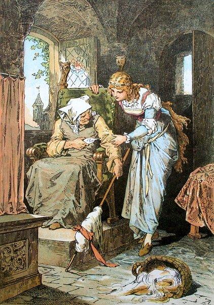 Illustration von Alexander Zick zu dem Märchen Dornröschen: Die Königstochter sticht sich an der Spindel