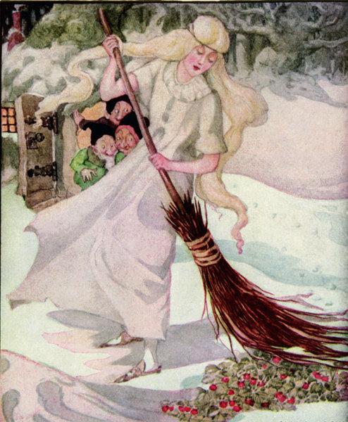 Illustration von Anne Anderson zu dem Märchen Die drei Männlein im Walde