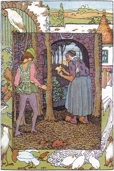 Joringel such Jorinde, die von der Hexe in einen Vogel verwandelt wurde. Illustration von Heinrich Vogeler