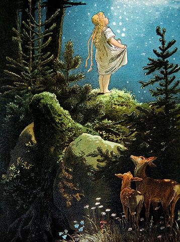 Illustration von Viktor Paul Mohn zu dem Märchen Die Sterntaler