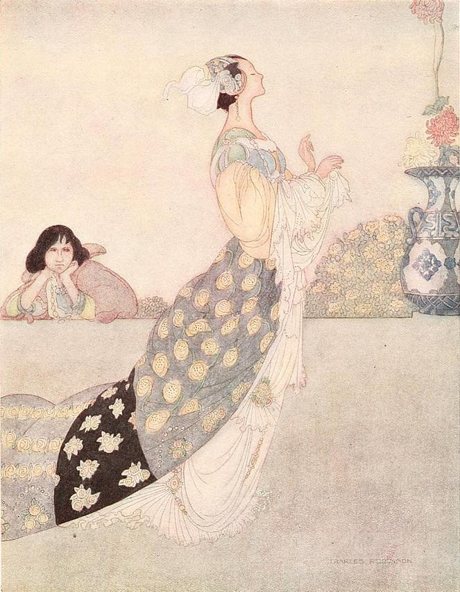 Illustration von Charles Robinson zu dem Märchen Die Nachtigall und die Rose von Oscar Wilde