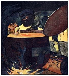 Des Teufels rußiger Bruder, Märchen der Brüder Grimm. Illustration Albert Weisgerber