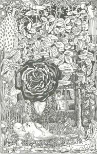 Die Nachtigall und die Rose, Märchen von Oscar Wilde. Illustration Heinrich Vogeler