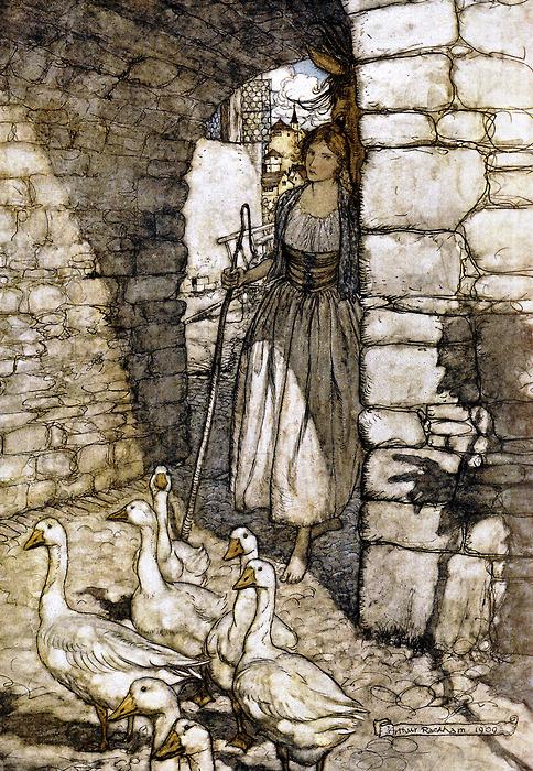 Illustration von Arthur Rackham zu dem Märchen Die Gänsemagd