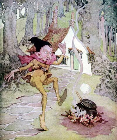 Illustration von Anne Anderson zu dem Märchen Rumpelstilzchen von Anne Anderson