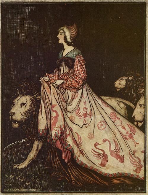 Illustration von Arthur Rackham zu dem Märchen Das singende, springende Löweneckerchen