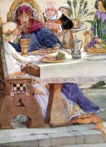Froschkönig, Brüder Grimm. Märchenbilder von Anne Anderson
