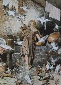 Aschenputtel (mit Tauben), Illustrattion Alexander Zick