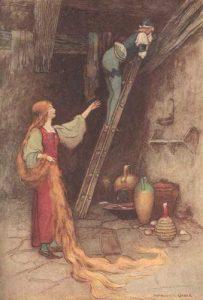 Petrosinella (Rapunzel), Märchen von Giambattistata Basile. Illustration Warwick Goble