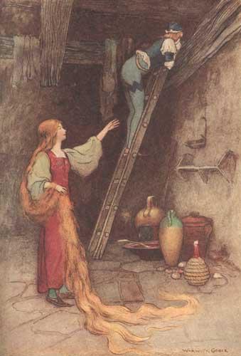 Illustration von Warwick Goble zum Märchen Petrosinella us dem Pentamerone von Giambattista Basile