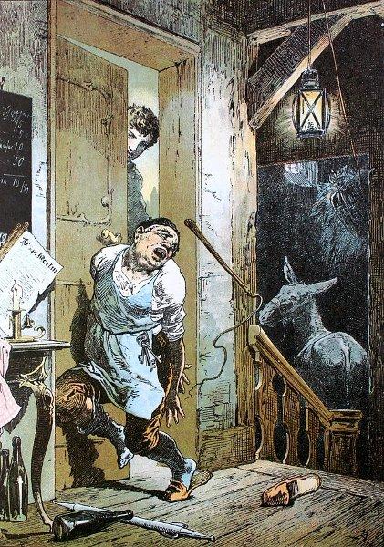 Illustration Alexander Zick zu dem Märchen Tischlein, deck dich, Goldesel, Knüppel aus dem Sack