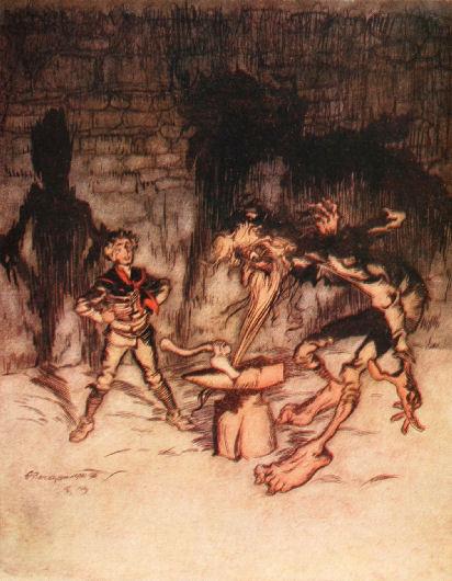 Illustration von Arthur Rackham zu dem Märchen Von einem der auszog das Fürchten zu lernen