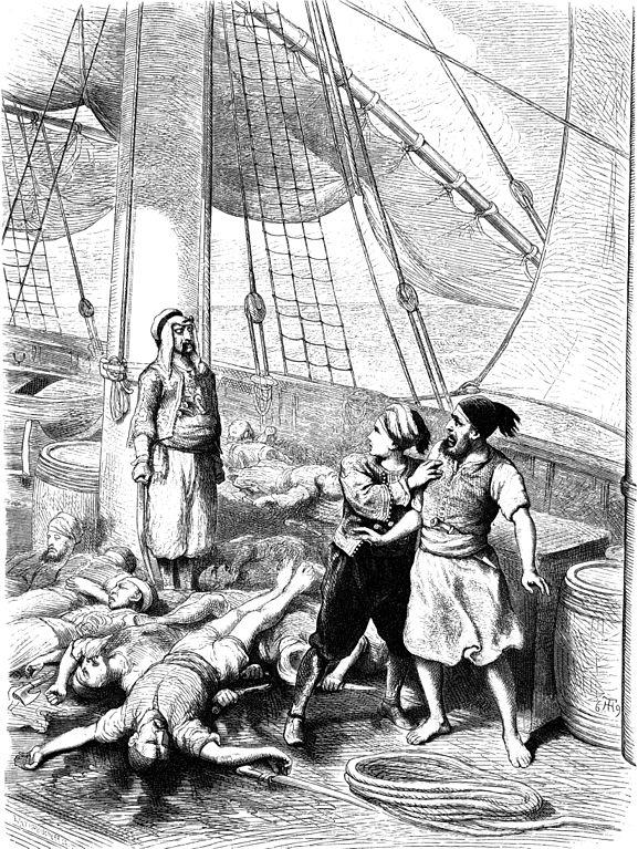 Illustration von Theodor Hosemann zu Wilhelm Hauffs Geschichte vom Gespensterschiff