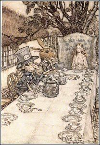 Alice im Wunderland (Teeparty), Illustration Arthuer Rackham