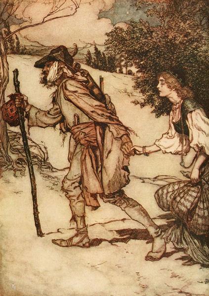Illustration von Arthur Rackham zu dem Märchen König Drosselbart von den Brüdern Grimm