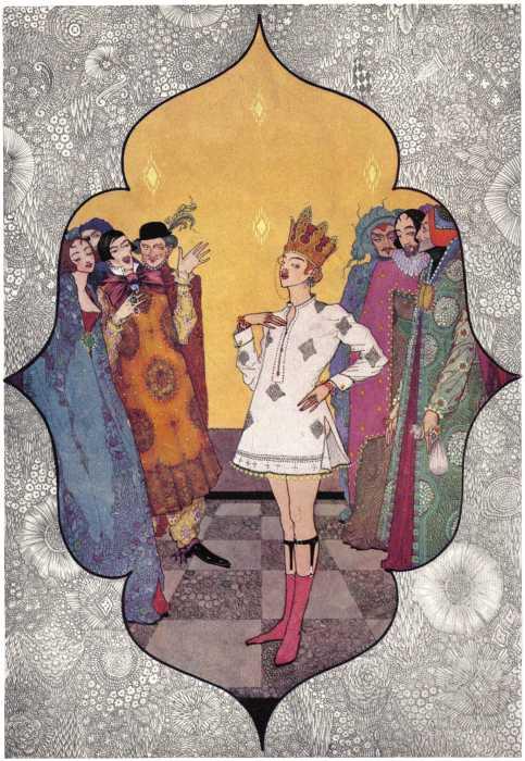 Illustration von Harry Clarke zu dem Märchen Des Kaisers neue Kleider