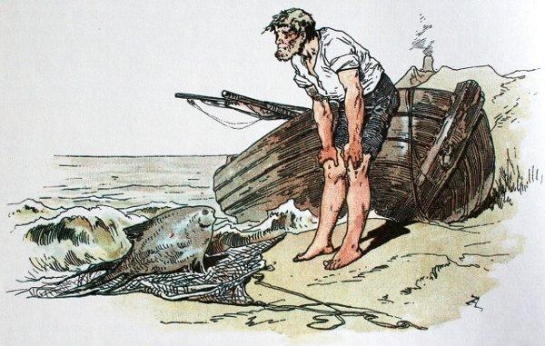 Illustration von Alexander Zick zu dem Märchen Vom Fischer und seiner Frau