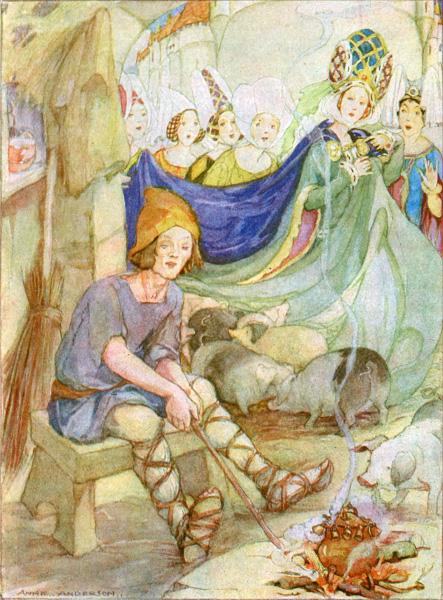 Illustration von Anne Anderson zu dem Märchen Der Schweinehirt von Hans Christian Andersen
