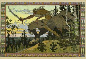 Koschtschei, der Schreckliche. Russische Märchenfigur. Illustration Iwan Bilibin
