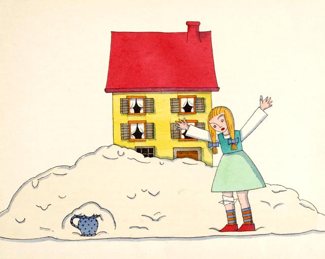 Illustration von Tom Seidmann-Freud zu dem Märchen der süße Brei