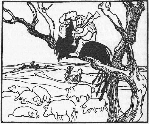 Illustration von Otto Ubbelohde zu dem Märchen Hans mein Igel