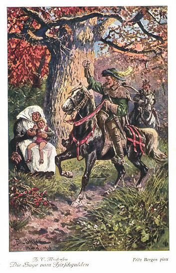 Die Sage vom Hirschgulden. Künstlerpostkarte von Fritz Bergen