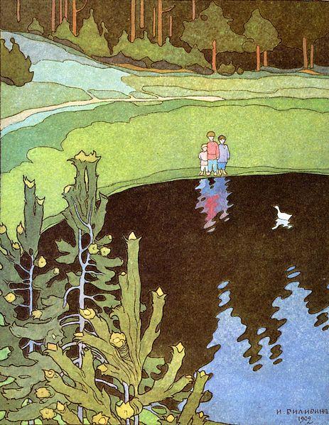 Illustration von Iwan Bilibin zu dem russischen Märchen Die weiße Ente