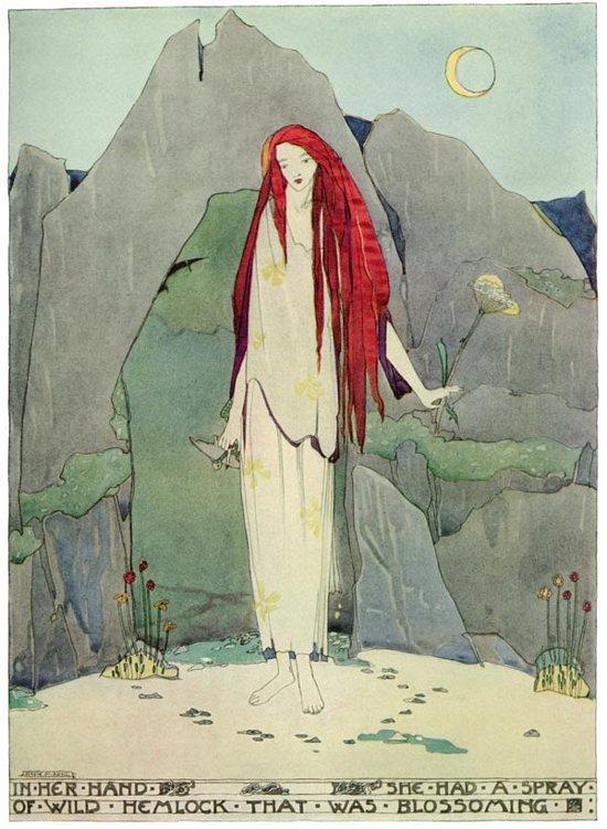 Die schöne Hexe mit dem Schierlingszweig. Illustration von Jessie M. King zu Oscar Wildes Märchen Der Fischer und seine Seele
