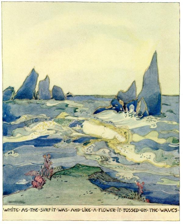 Die Meerjungfrau treibt tot auf den Wellen. Illustration von Jessie M. King zu Oscar Wildes Märchen Der Fischer und seine Seele