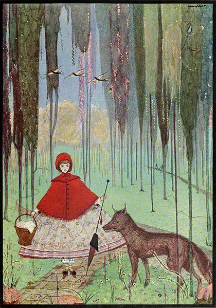 Rotkäppchen trifft auf dem Weg zur Großmutter den Wolf. Illustration von Harry Clarke