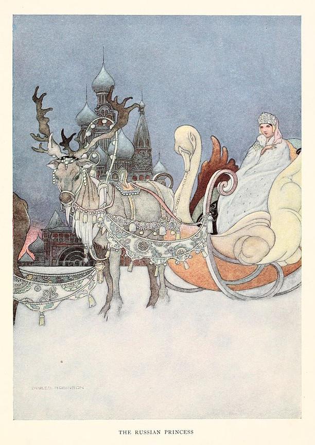 Illustration von Charles Robinson zu dem Märchen Die bedeutsame Rakete von Oscar Wilde