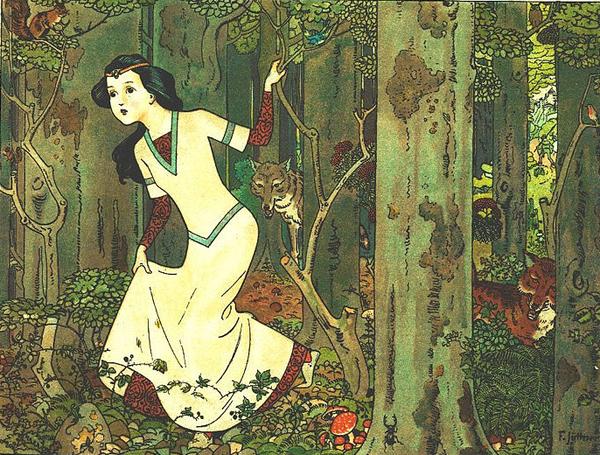 Illustration von Franz Jüttner zu dem Märchen Schneewittchen