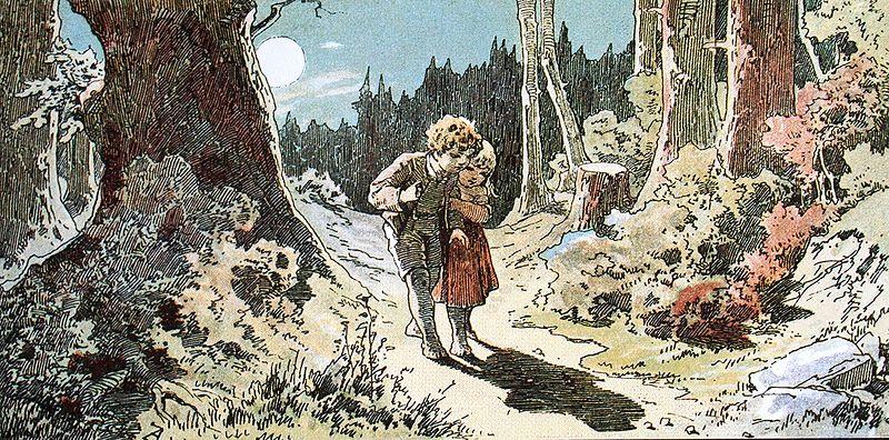 Illustration von Alexander Zick. Hänsel und Gretel im Wald