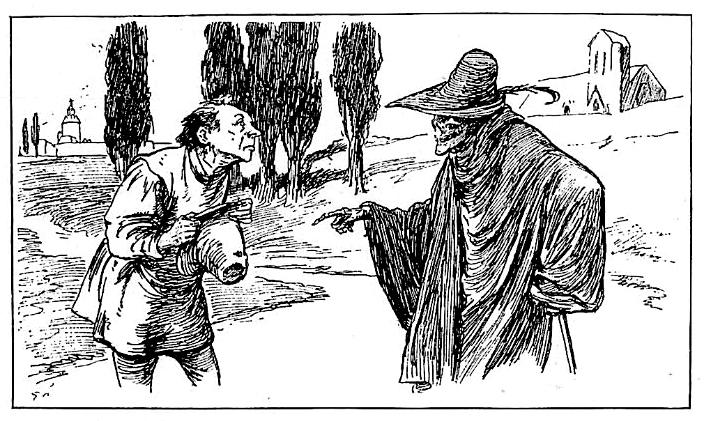 Illustration von Gordon Browne zu dem Märchen Gevatter Tod