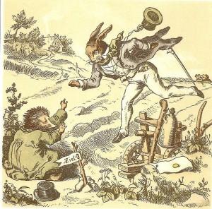 Der Wettlauf zwischen Hase und Igel. Märchen der Brüder Grimm. Illustration von Gustav Süs