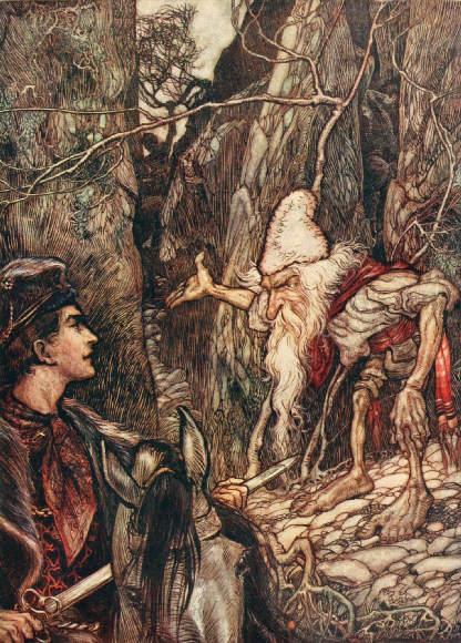 Der Märchenheld trifft einen freundlichen Zwerg. Illustration von Arthur Rackham zu dem Märchen Das Wasser des Lebens