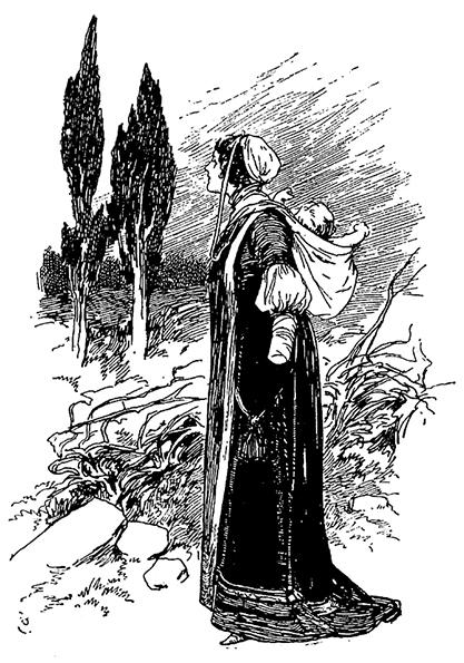 Illustration von Gordon Browne zu dem Märchen Das Mädchen ohne Hände