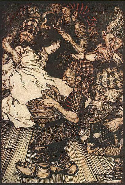 Schneewittchen und die sieben Zwerge. Illustration von Arthur Rackham zu dem