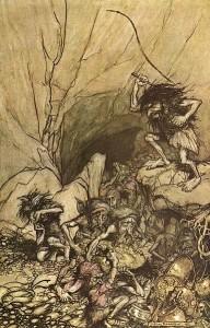 Rheingold: Zwergenkönig Alberich. Illustration Arthur Rackham