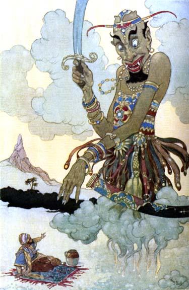 Illustration von René Bull zu der Geschichte vom Fischer und dem Dschinni aus Tausendundeine Nacht