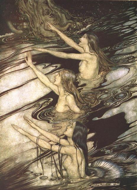 Die drei Rheintöchter Wellgunde, Woglinde und Floßhilde. Illustration von Arthur Rackham
