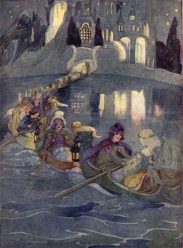 Illustration von Anne Anderson zu dem Märchen Die zertanzten Schuhe