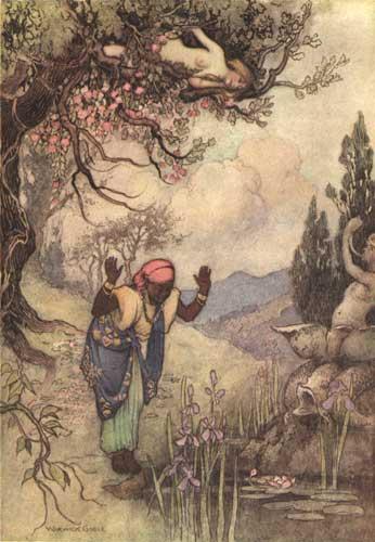 Illustration von Warwick Goble zu dem Märchen Die drei Zitronen aus dem Pentameron von Giambattista Basile