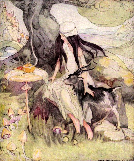 Illustration Anne Anderson zu dem Märchen Einäuglein, Zweiäuglein, Dreiäuglein von den Brüdern Grimm