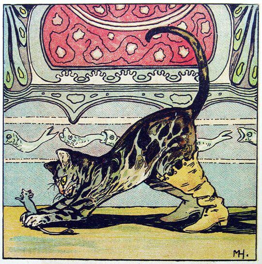 Illustration von Marie Hohneck zu dem Märchen Der gestiefelte Kater