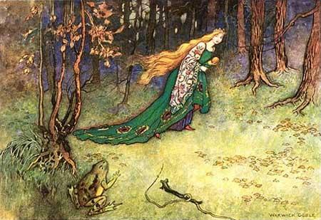 Froschkönig, Brüder Grimm. Märchenbilder von Warwick Goble